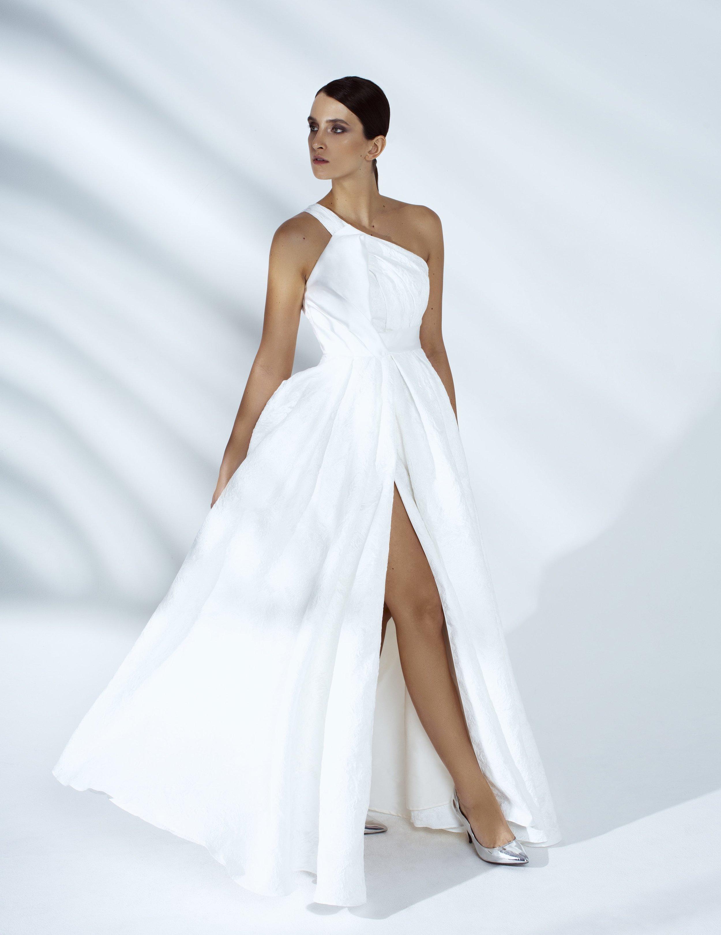 Style # - SS20014   Chiara  draped overlap jacquard maxi dress