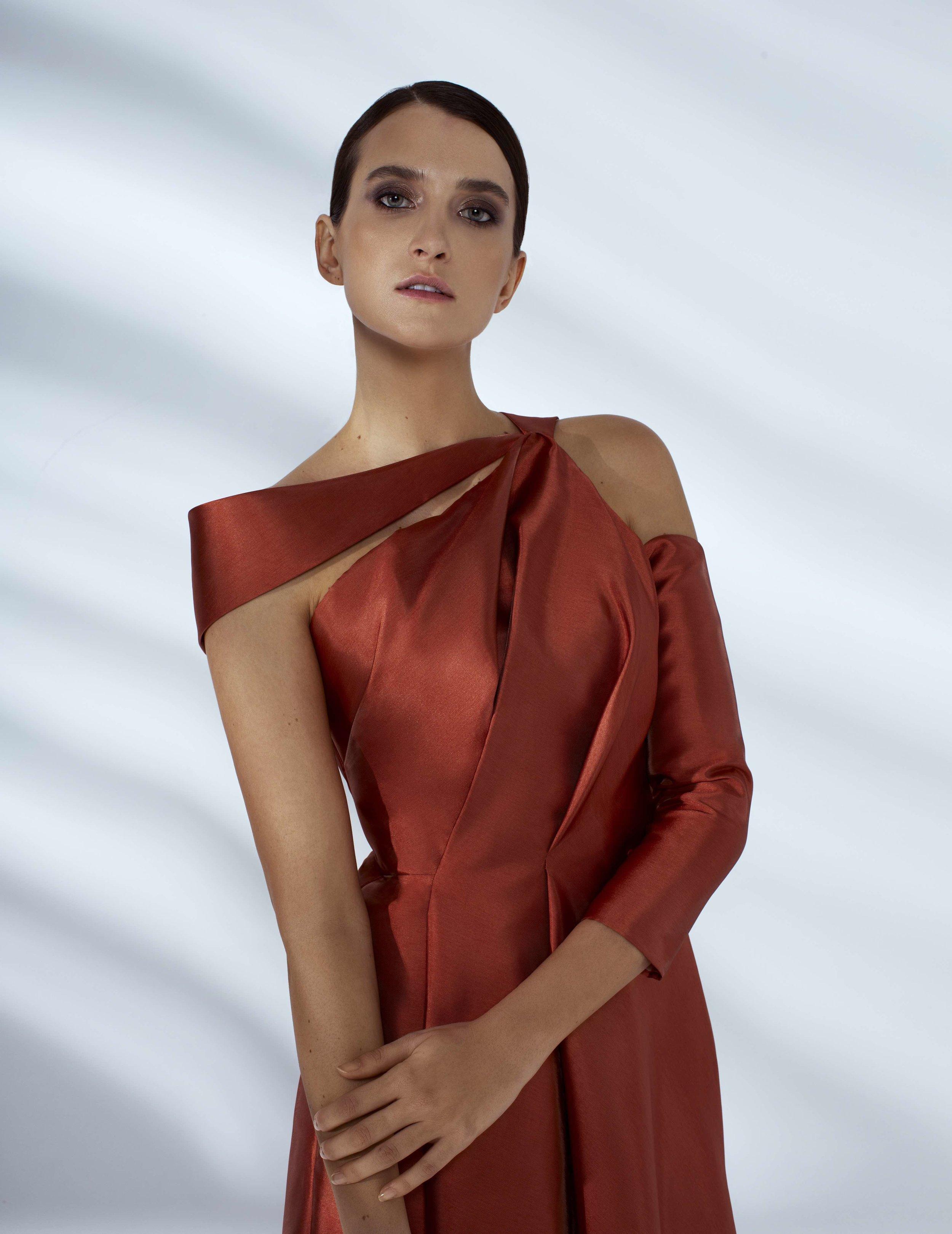 Style # - SS20017   Sara  draped asymmetrical dress with 3/4 sleeves
