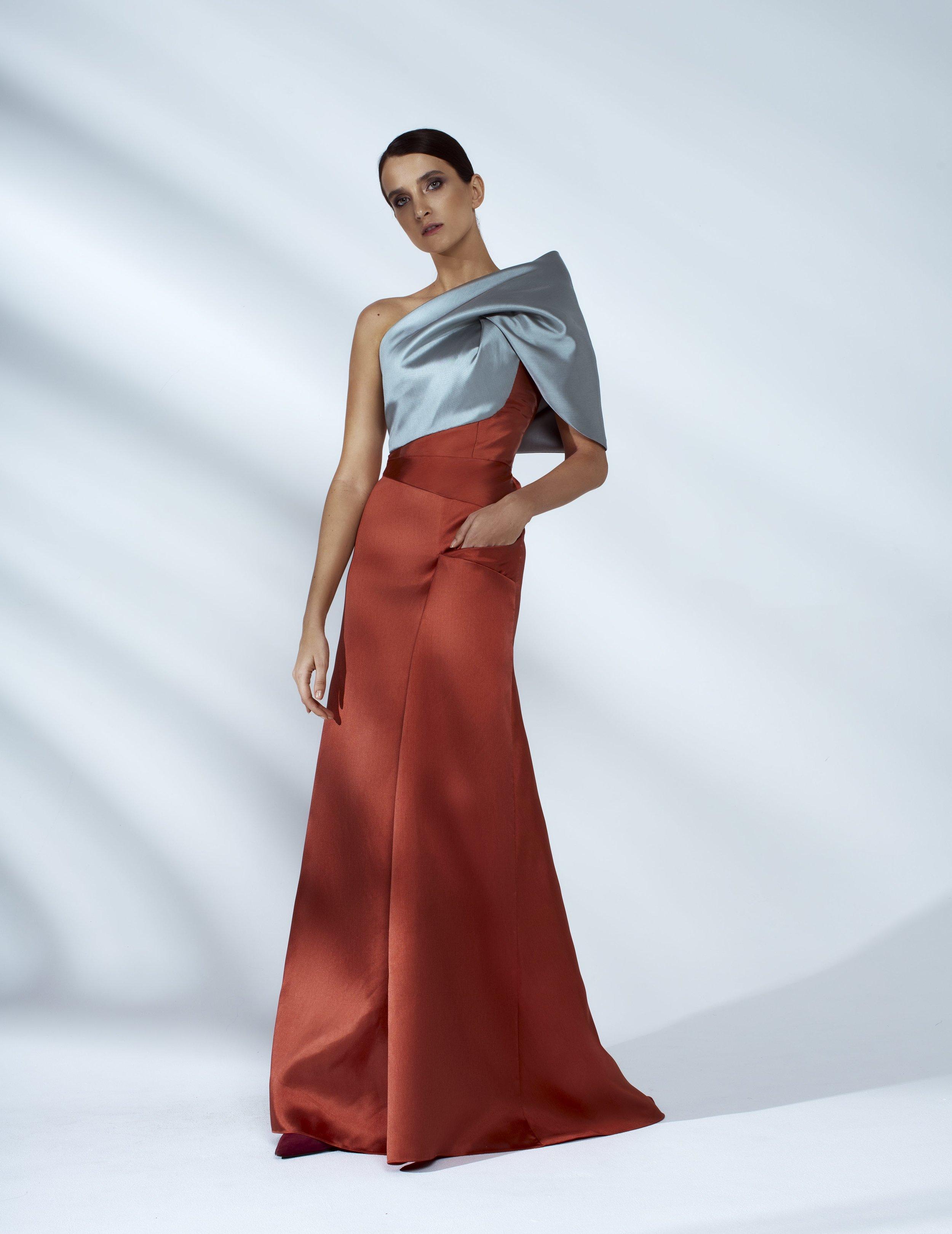Style # - SS20018   Iman  color-block draped maxi dress