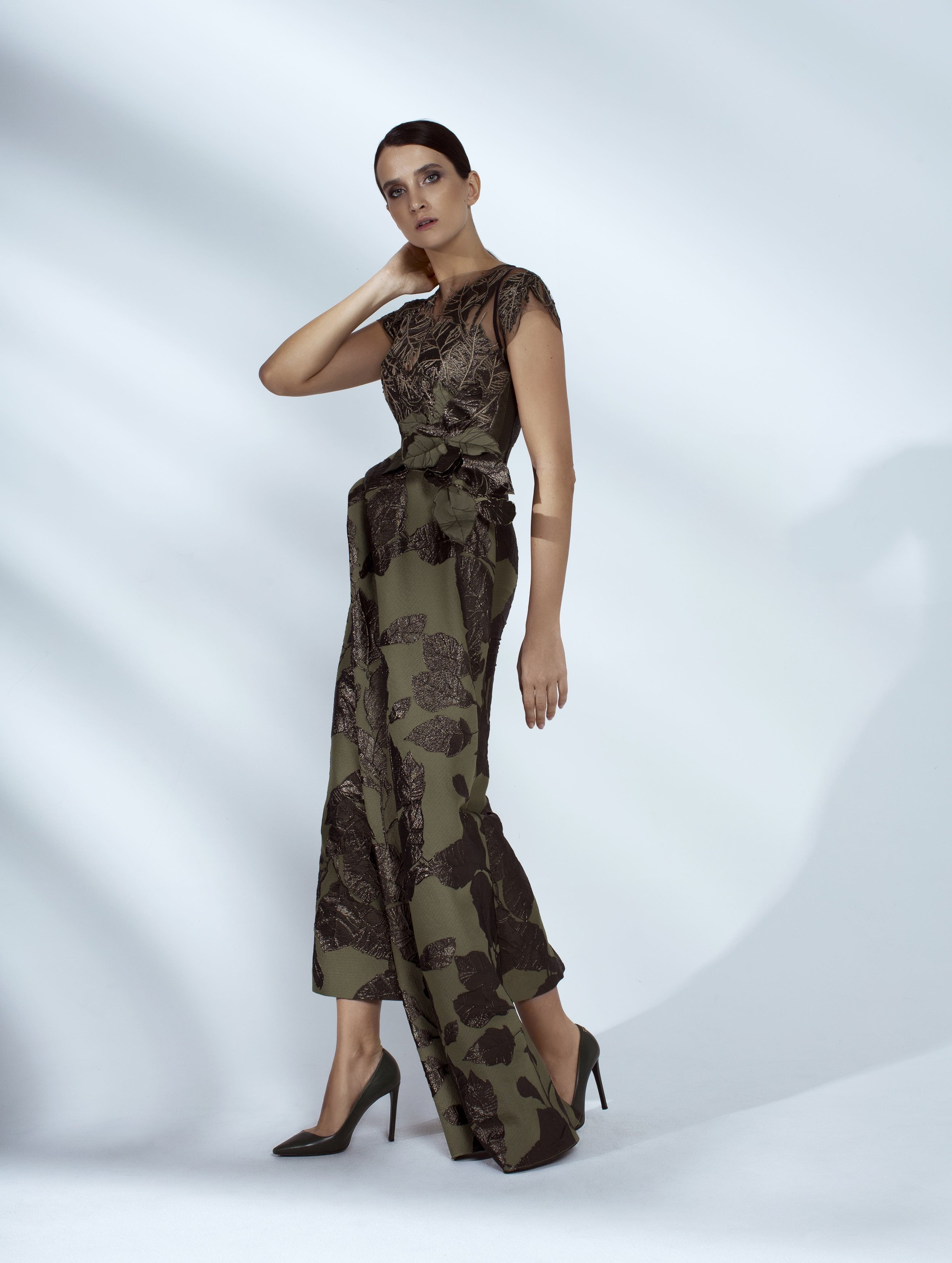Style # - SS20020   Aala  draped hand embroidered dress / 3D flowers