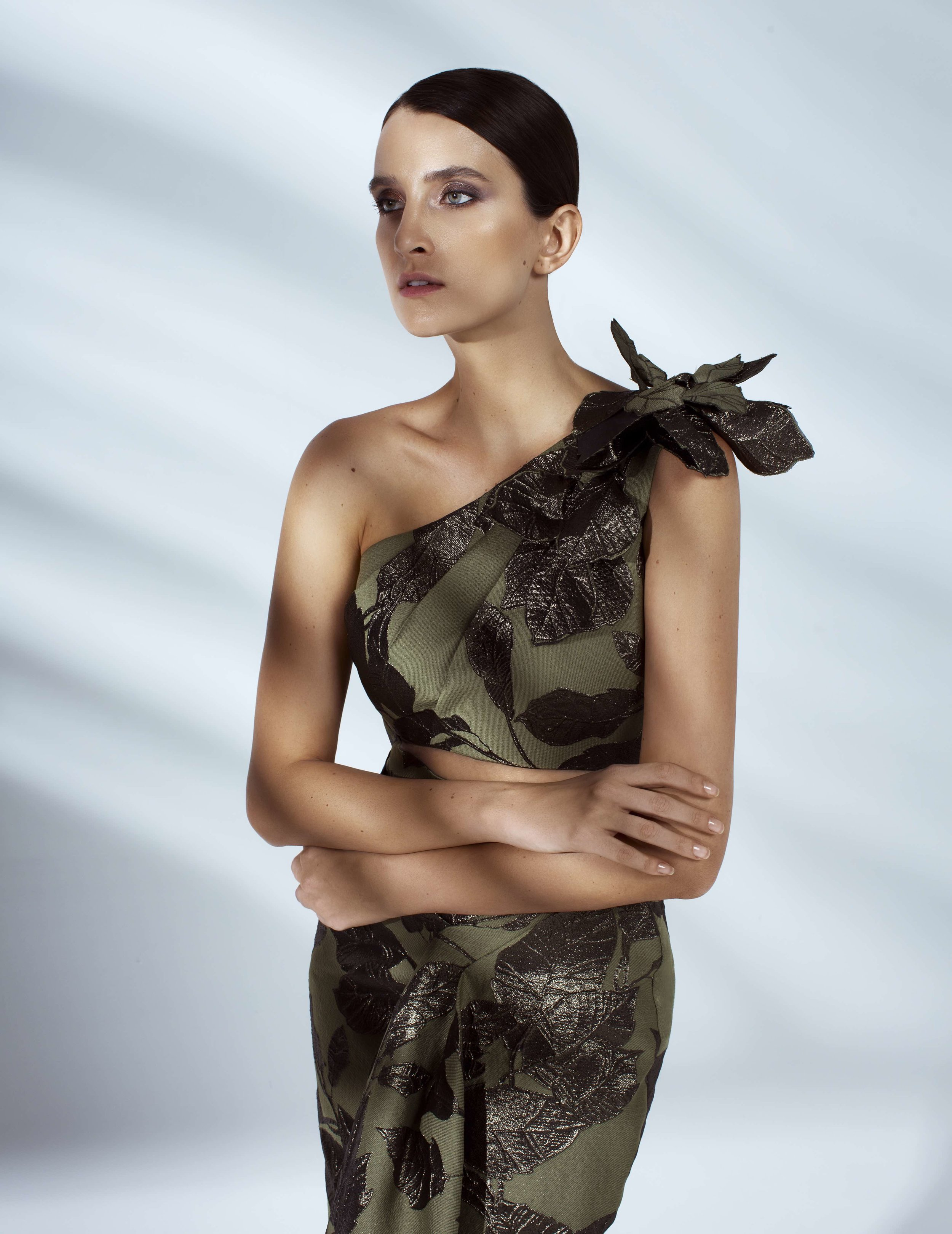 Style # - SS20021   Laura  draped maxi one-shoulder dress / 3D flowers