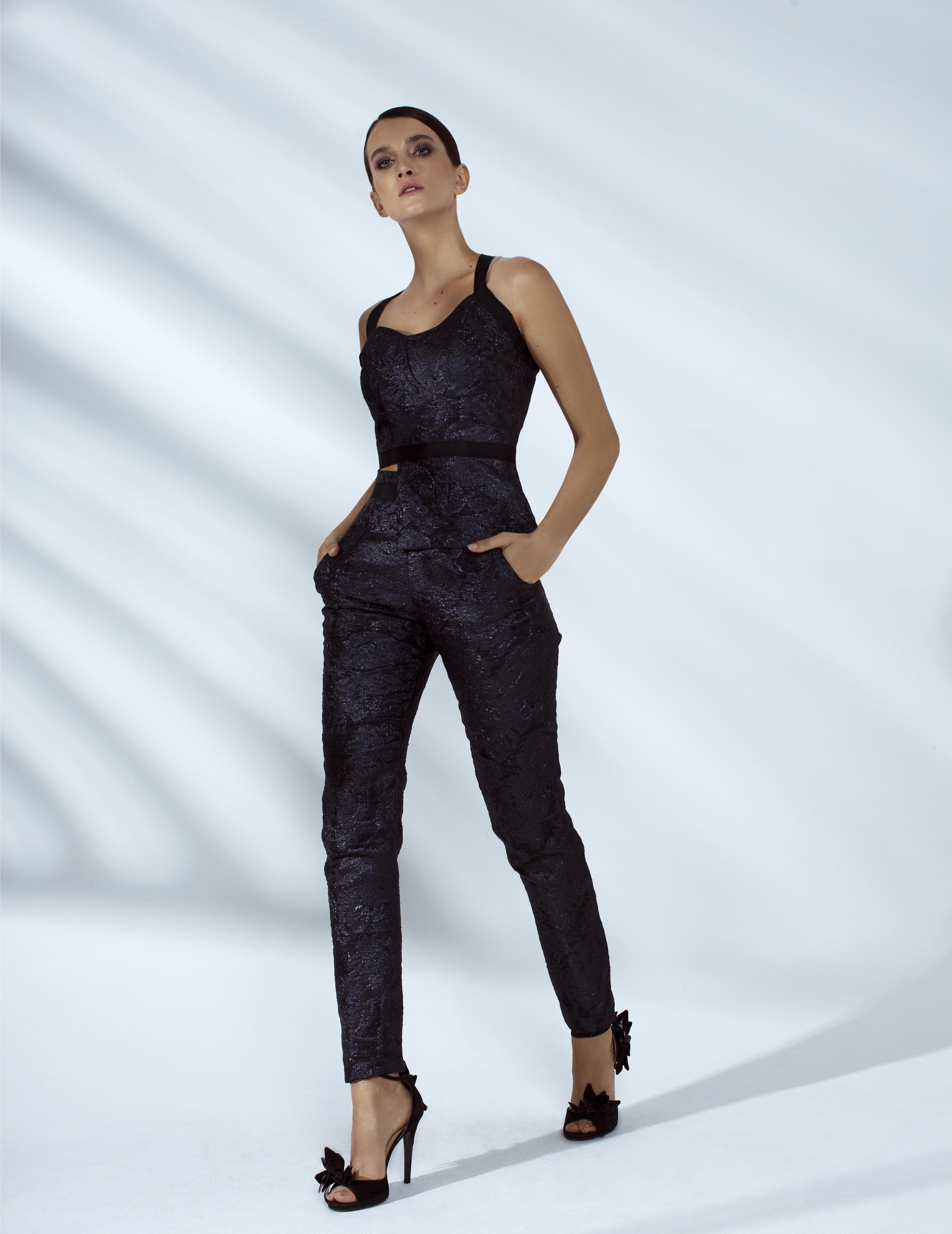 Style # - SS20023/24   Tory  asymmetrical brocade top with pants
