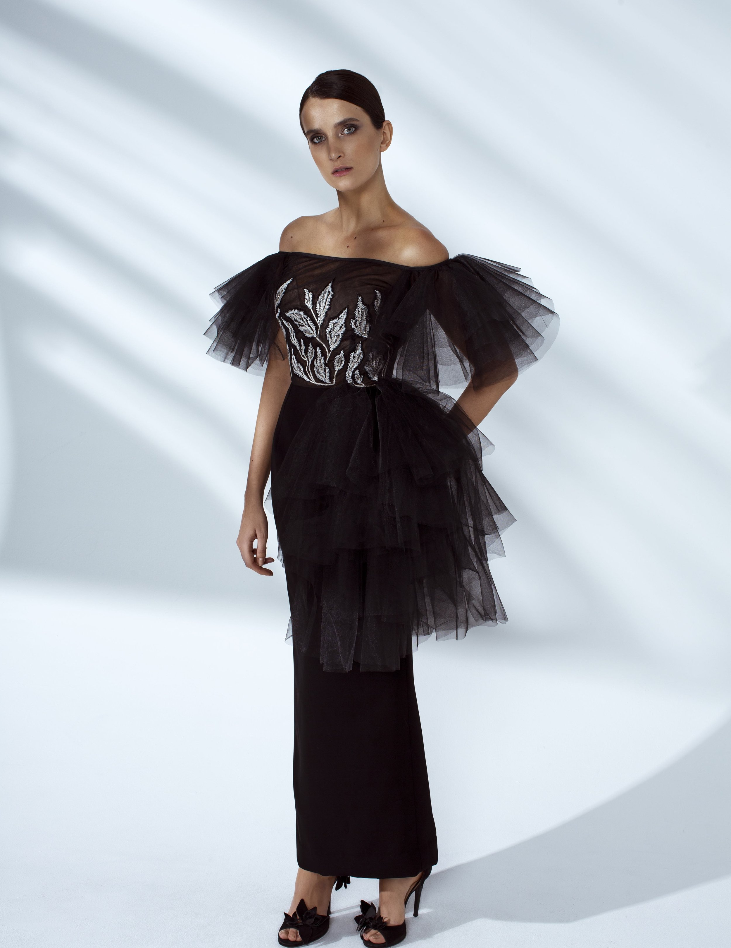 Style # - SS20025   Leema  hand embroidered off-shoulder dress