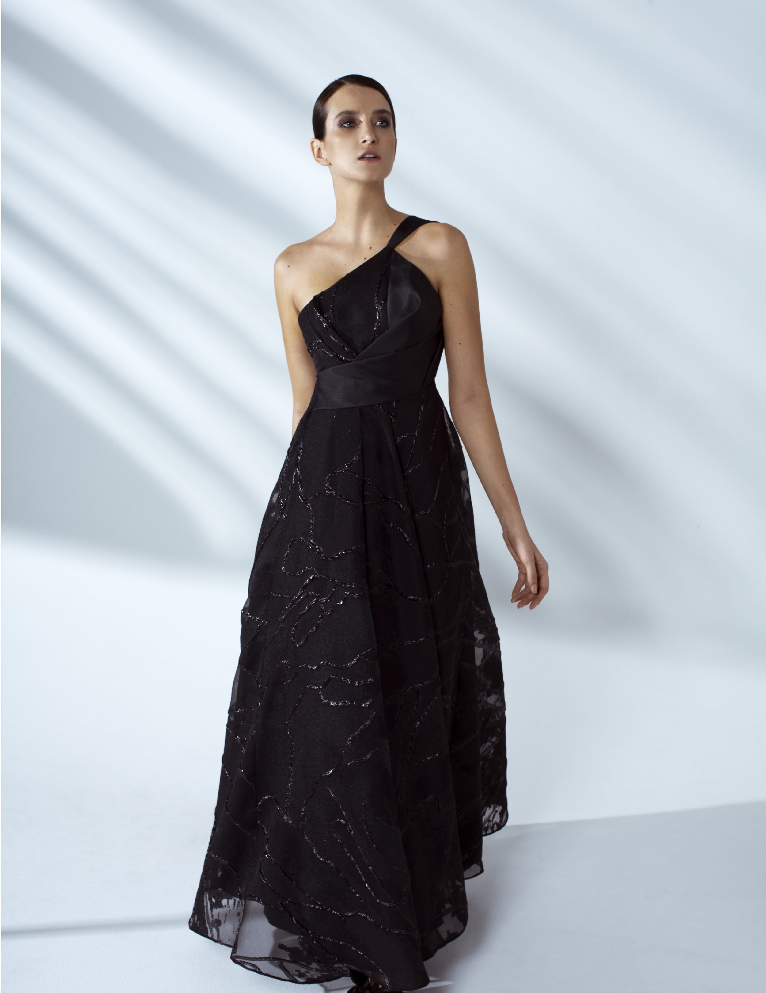 Style # - SS20027   Tamara  one shoulder draped maxi dress