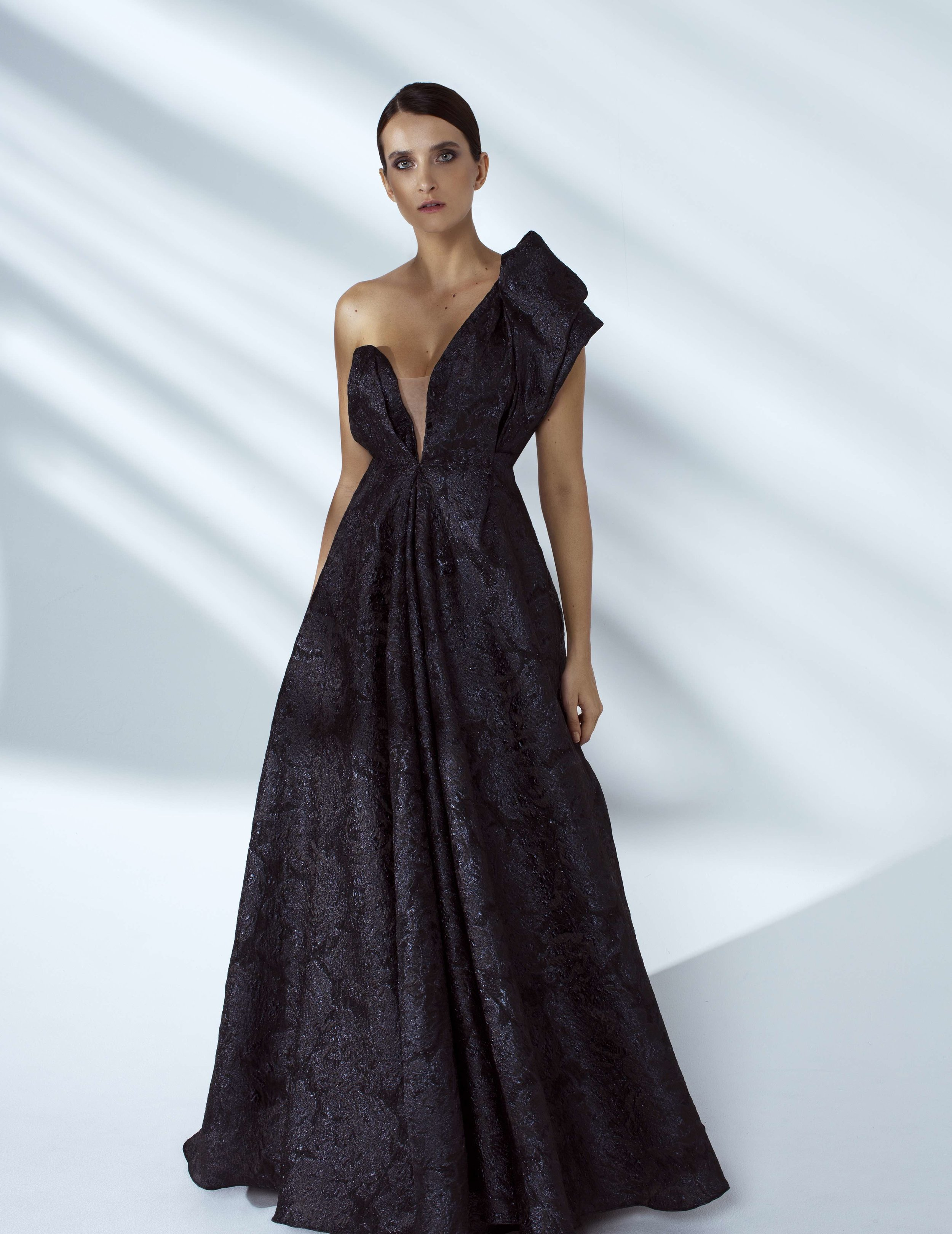 Style # - SS20028  Lara draped one-shoulder maxi dress