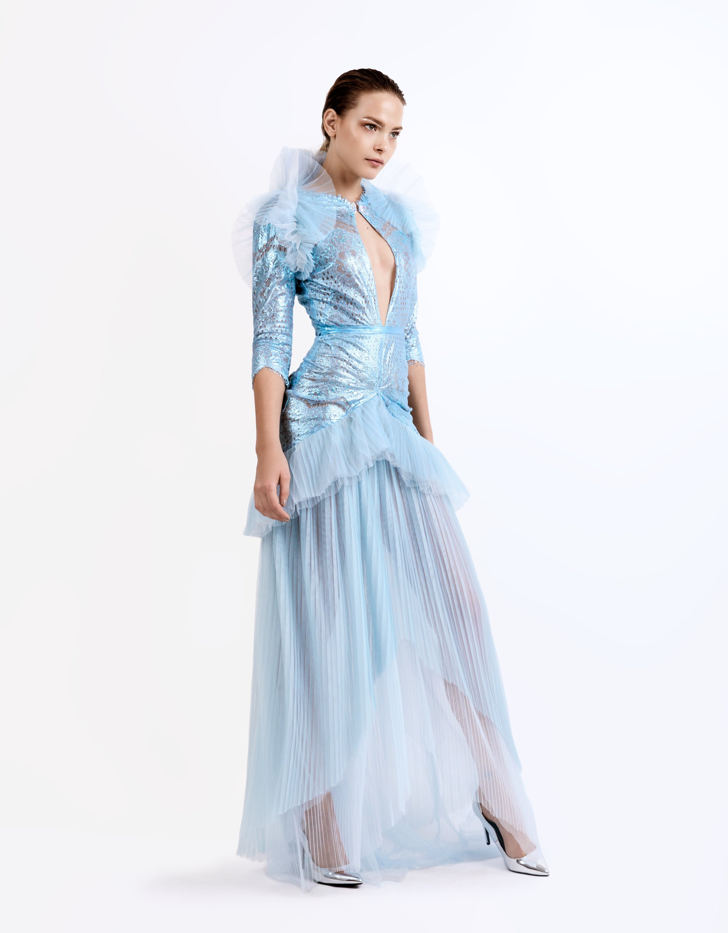 SS19014   Alexis  lace combo dress with pleated tulle ruffles