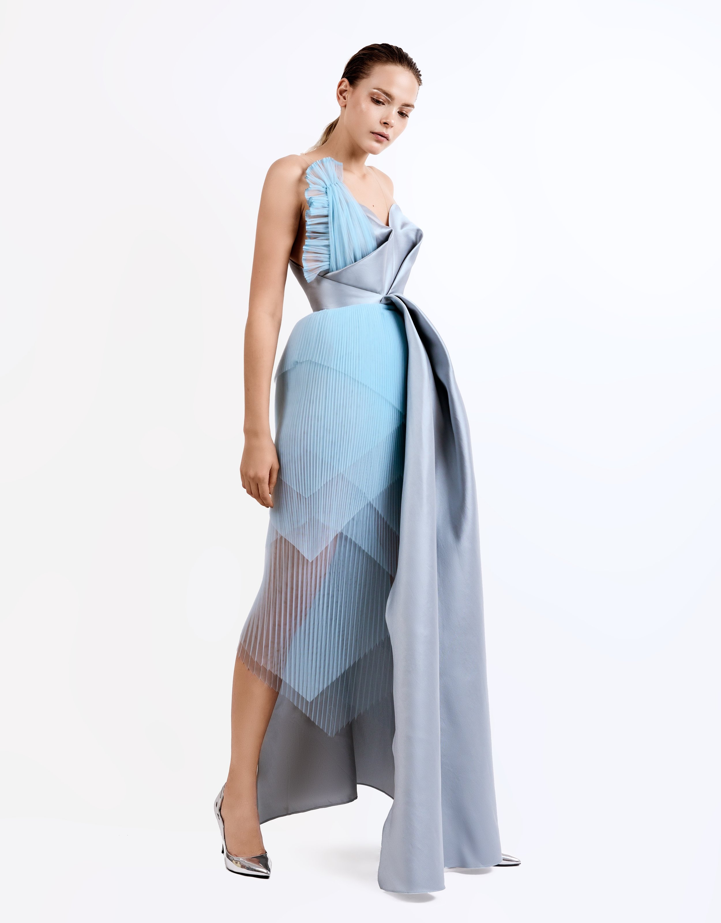 SS19021   Paola  draped dress with layered pleated tulle