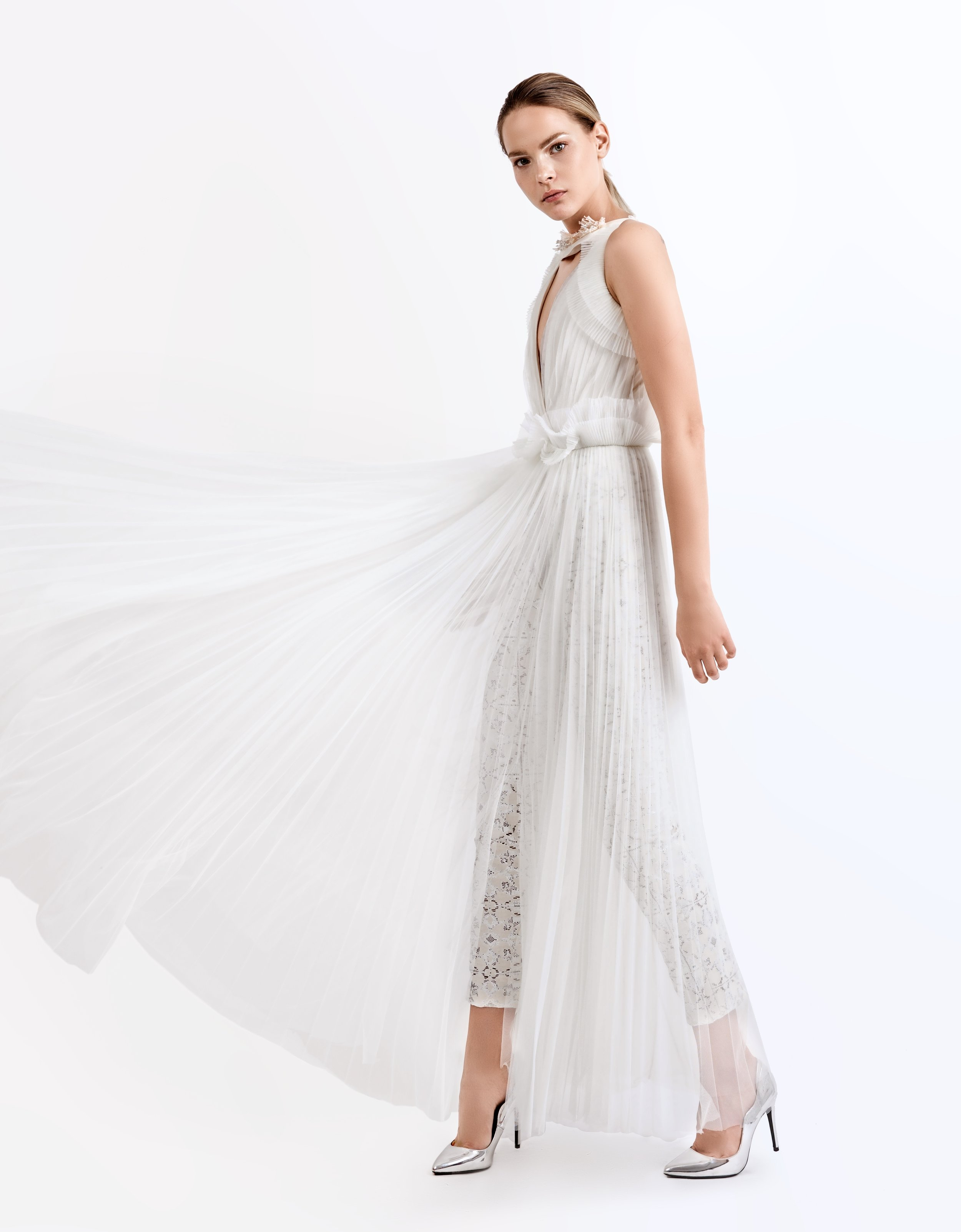 SS19001   Alena  pleated tulle dress with beaded collar