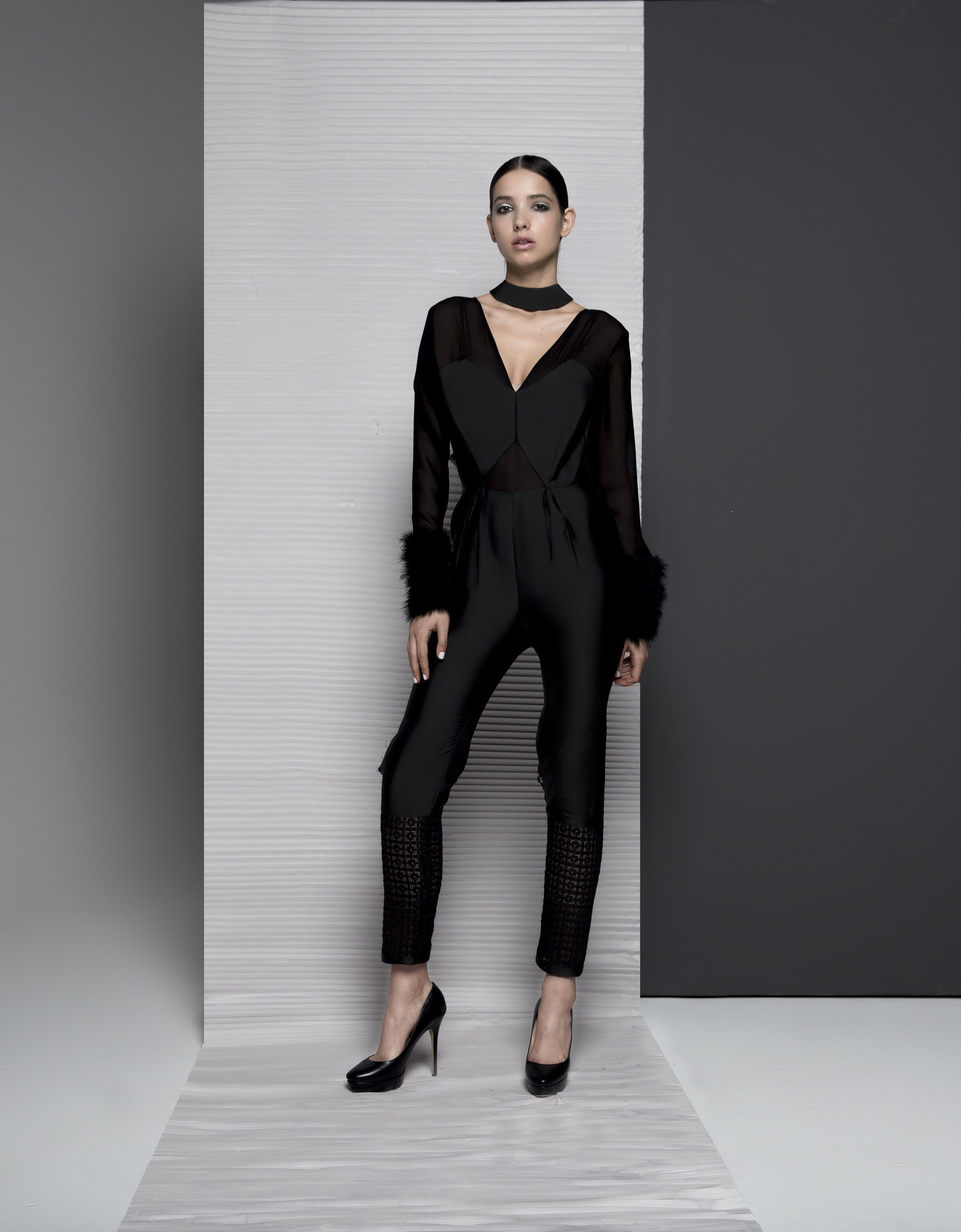 FW18010   ZARAH  SHEER JUMPSUIT WITH FUR CUFF
