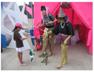 Carrie Vinarsky and I performed as Alien zookeepers and Fortune Tellers at Artscape in Baltimore circa 2011