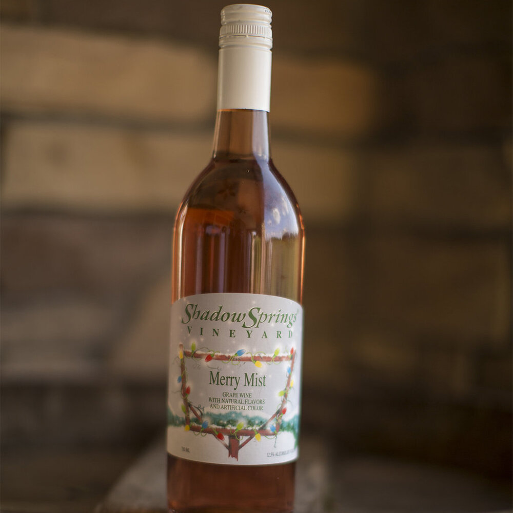 Merry Mist   $19  A fruity Cabernet Franc Rose wine with hints of cranberries and orange perfect with Thanksgiving turkey - enjoy chilled