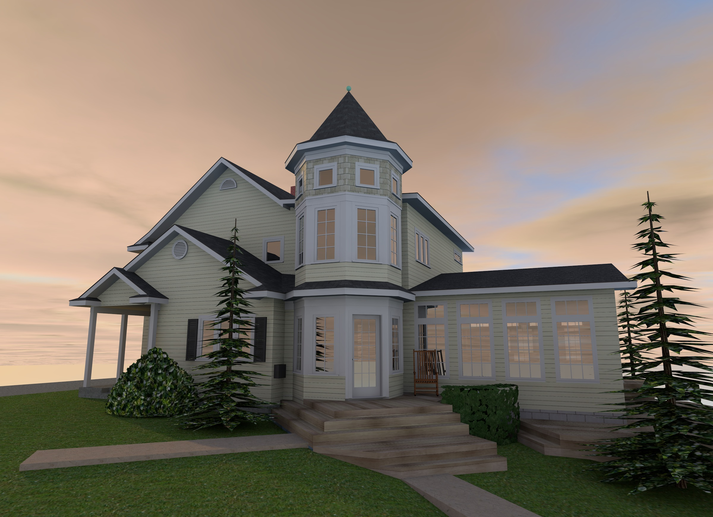 Victorian Turret Addition | Rendering
