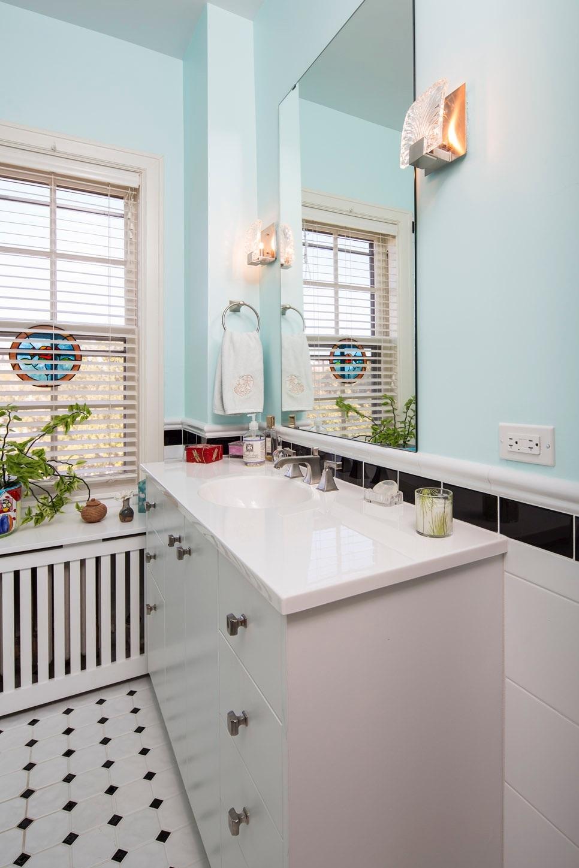 Bathroom fixtures updated in a remodel.