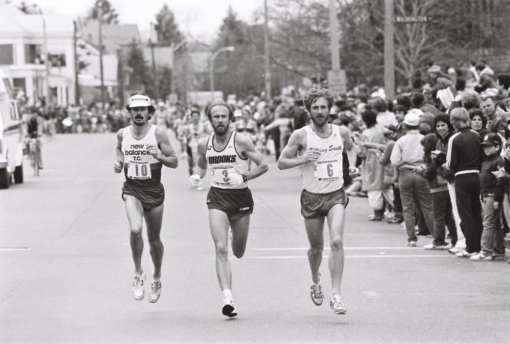 Paul Cummings, Greg Meyer, and Benji Durden do battle in the 1983 Boston Marathon (photo: Jeff Johnson)