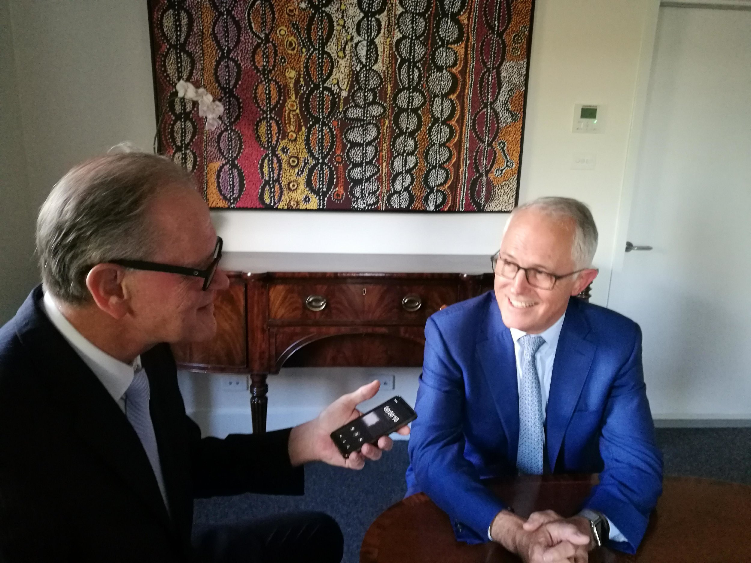 PM Malcolm Turnbull + Tim Shaw at The Lodge in Canberra, February 2019. - We spoke about all of the current issues of the day, but we sat in the sunniest room of this historic home. What I discovered was what he and Lucy had done to restore the sun to what they enjoyed as the 'breakfast room'.