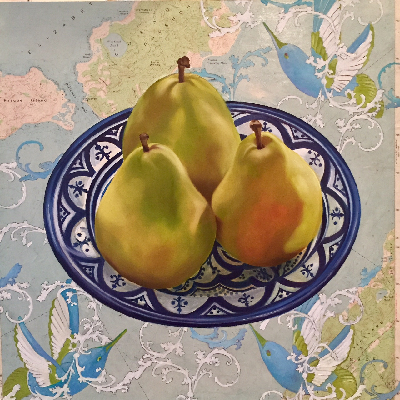 """Island Pears - 18""""x 18"""" - Oil and Collage on Panel"""