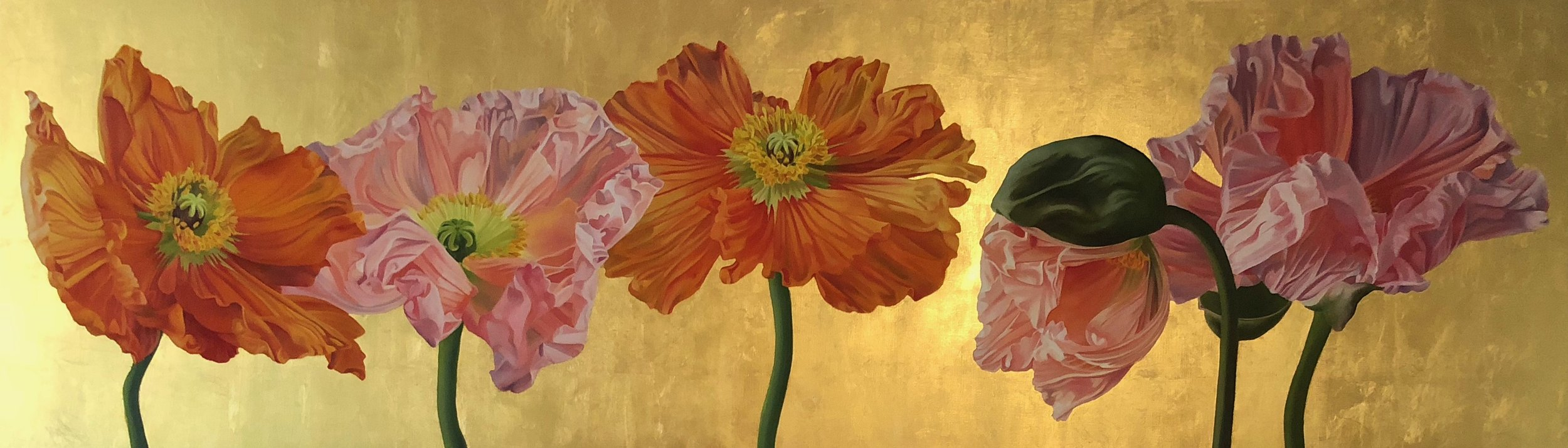 """The Line Up - 18"""" x 60"""" - Oil and Gold Leaf on Panel"""