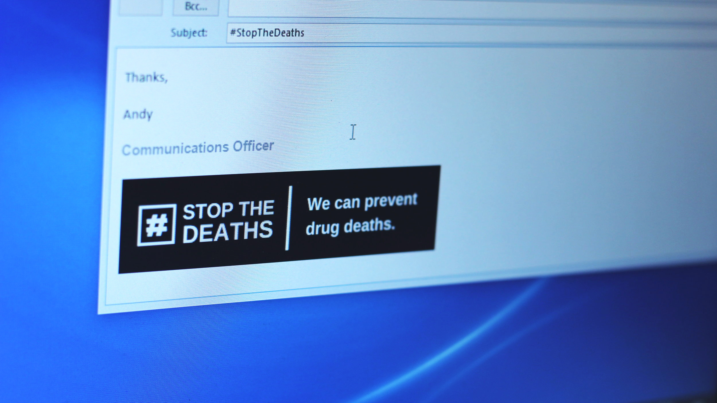 Add a logo to your email signature - Upload a #StopTheDeaths logo to your email signature and share the message one email at a time.