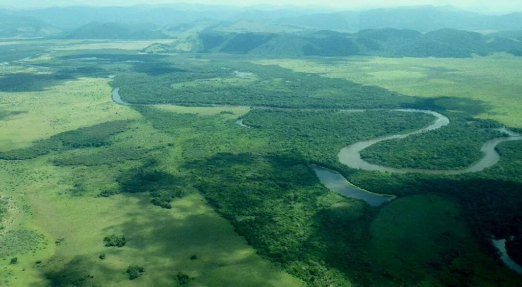 The Rupununi River, savannas, forest and Pakaraima mountains