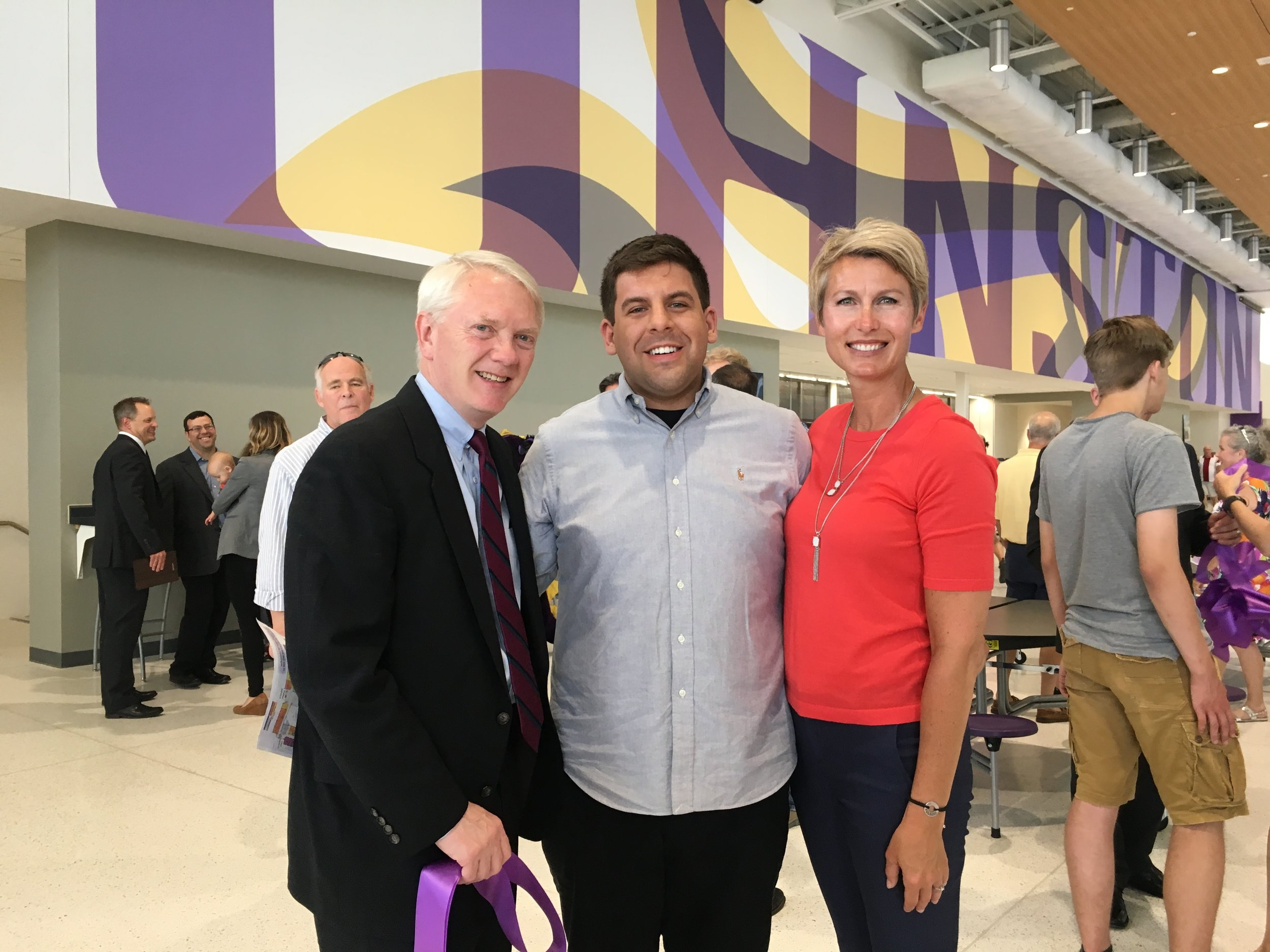 Ribbon cutting for the new Johnston HS with fellow committee co-chairs Mark and Jacqueline; we are missing one more in the pic as we couldn't find our other co-chair Bob!