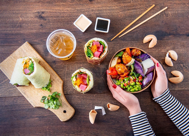 Chin Chin Sushi Burritos and Orange Chicken Bowl