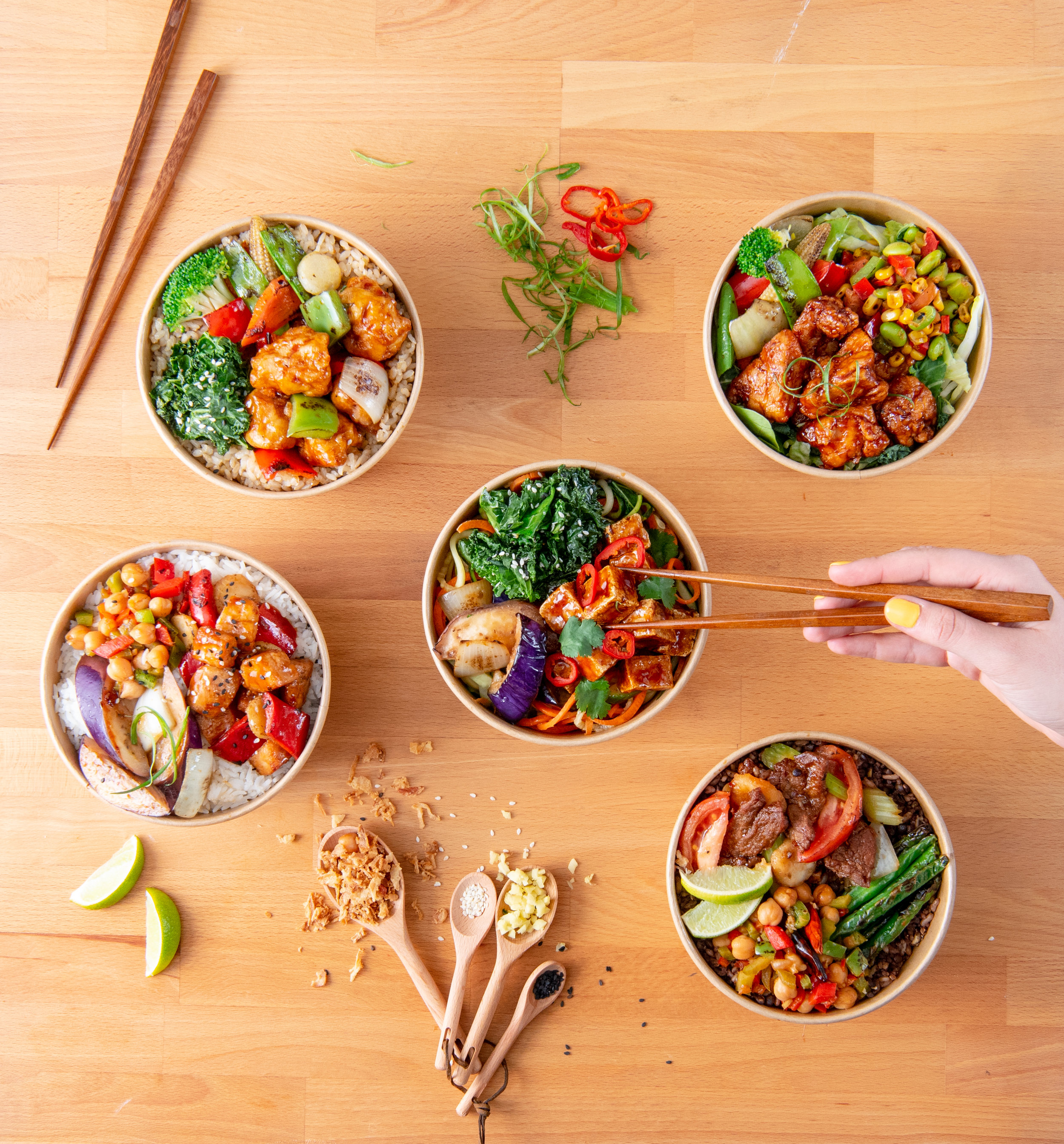 Built-to-order gluten-free, dairy-free, nut-free Chin Chin Street Side Bowls.