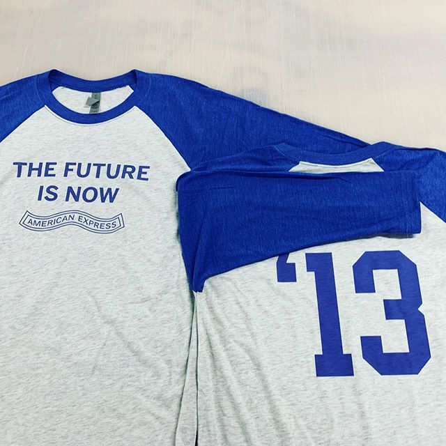 Custom baseball tees for @americanexpress - everyone has their name and year they started on the back.