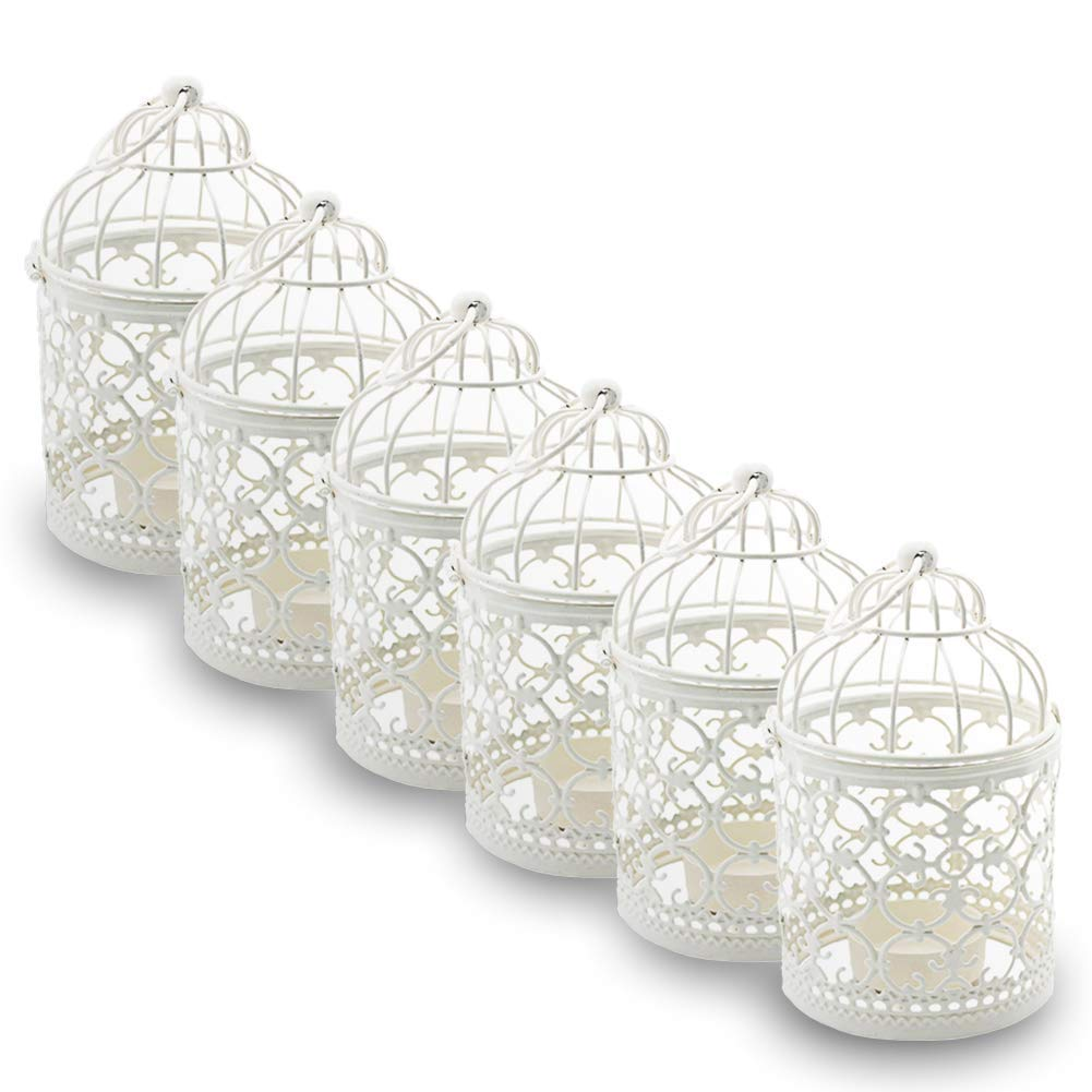 These mini bird cages would also be perfect for centerpieces! They come in different colors and $18 for 6!