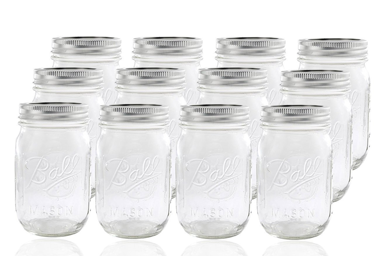 You can do a LOT with mason jars! These are Ball jars (the nice ones), and they're $15 for 12.