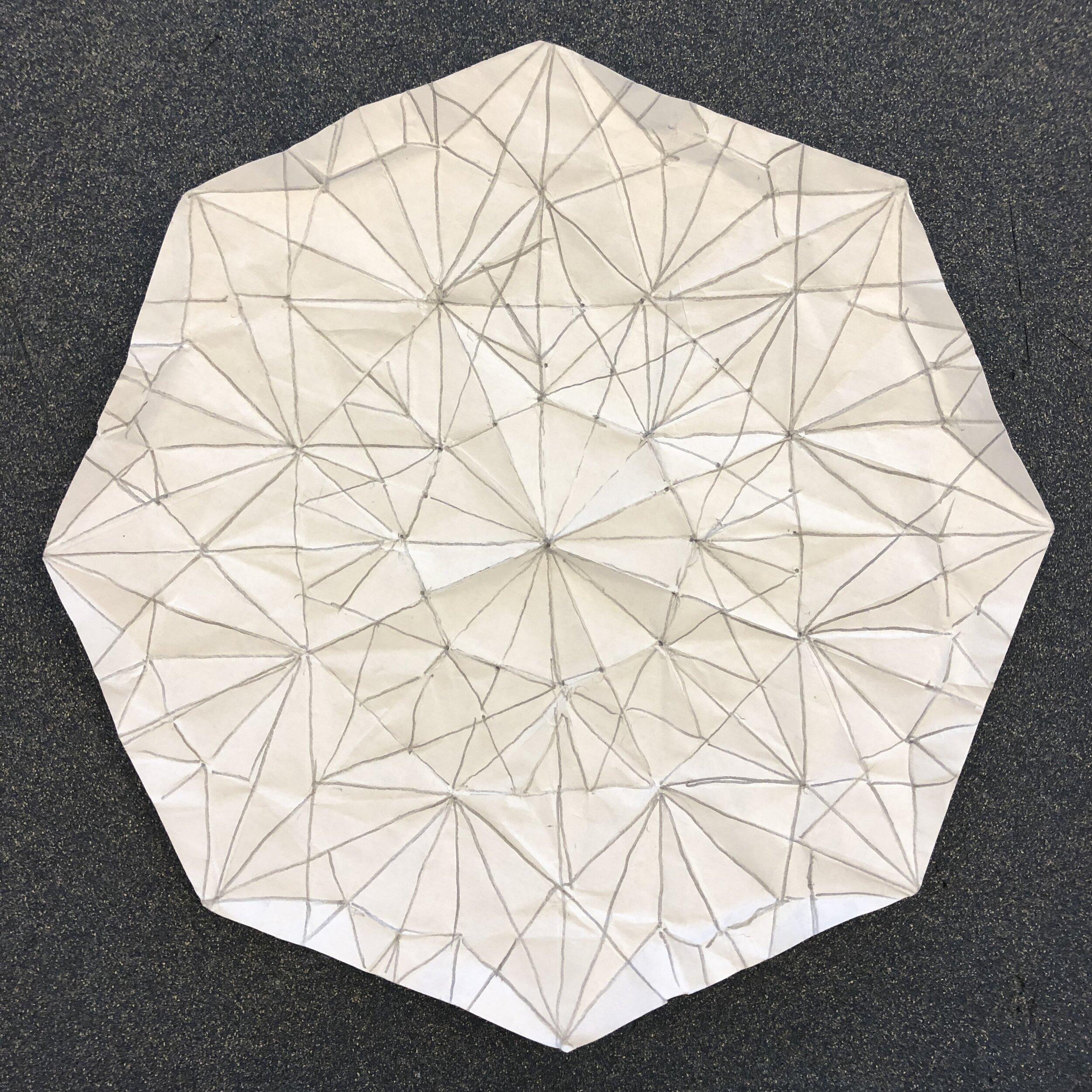Crease pattern, eight-pointed chrysanthemum mock. New York City, September 2019