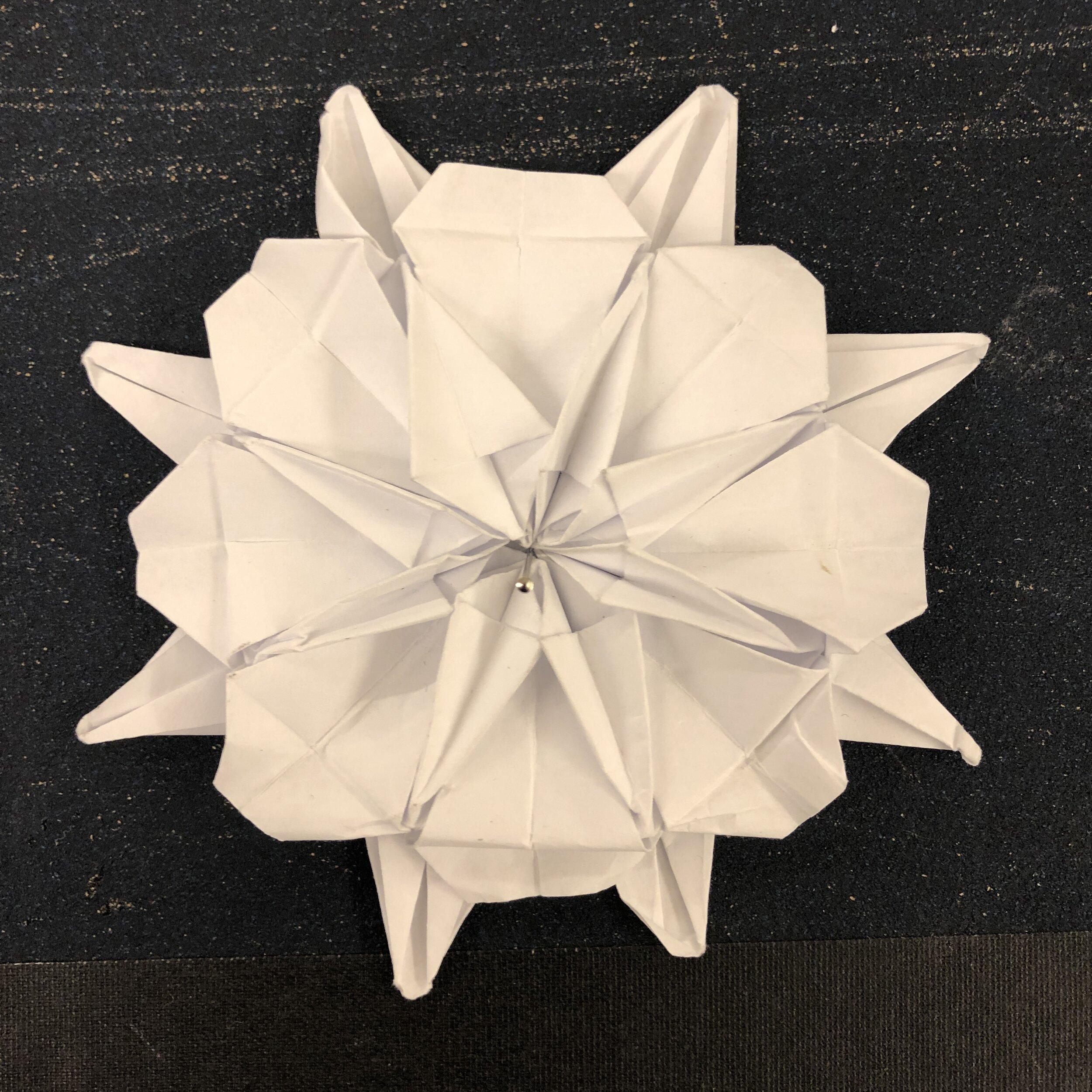 Origami eight-pointed chrysanthemum mock. New York City, September 2019