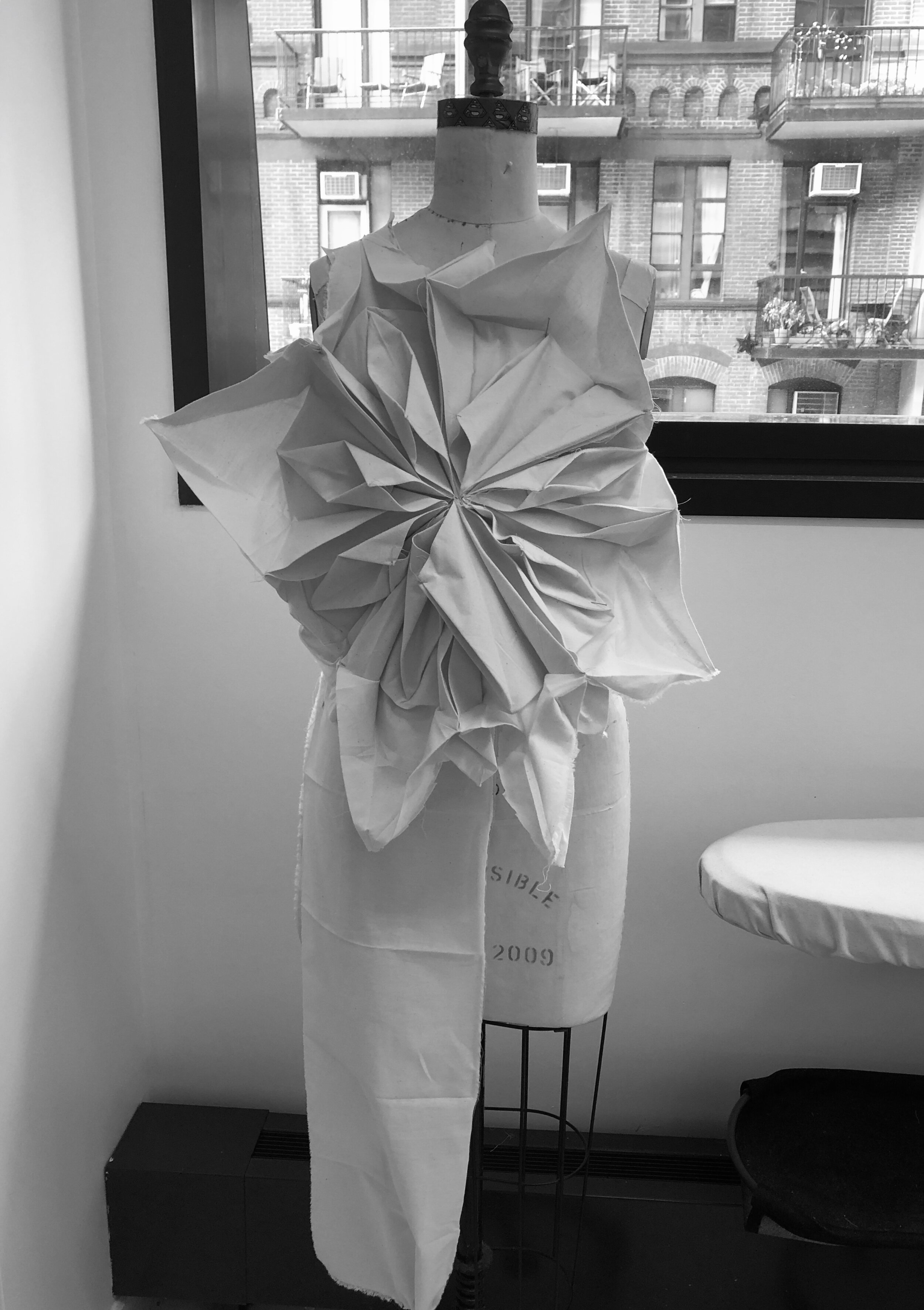 Origami eight-pointed chrysanthemum swatch. New York City, September 2019