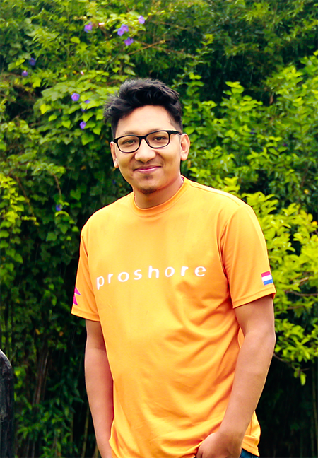 """- """"We want people to learn and be challenged, we help them with their career and offer them the latest technology. We don't force people to use any specific language set but give them room for suggestions before making a decision through collaboration""""- Babish Shrestha, Head of Engineering at Proshore"""