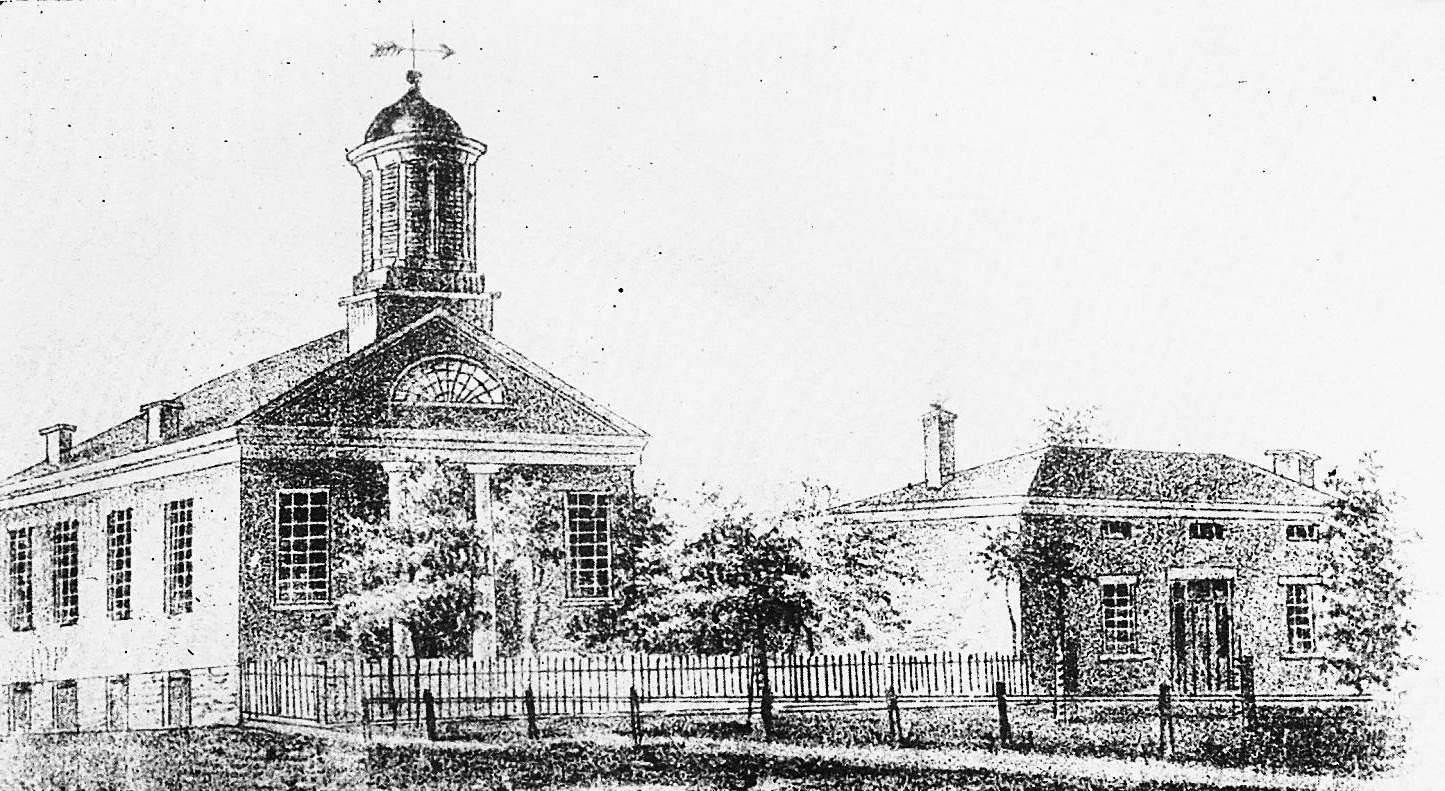 Drawing of 1848 Church on the Town Square -