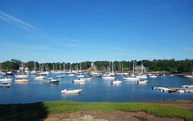 An early evening view of Manchester harbor.