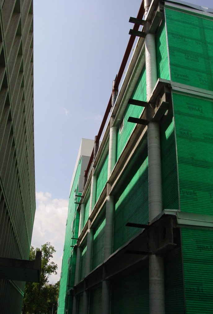 Sbarrier textile wrapping system for structural steel at the National Institute of Health, Bethesda, MD.