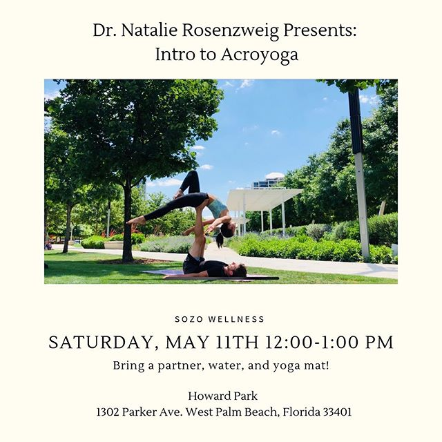 Come on out to our acroyoga event with Dr. Natalie TOMORROW from 12-1! You won't want to miss it🧘🏼‍♀️🧘🏼‍♂️