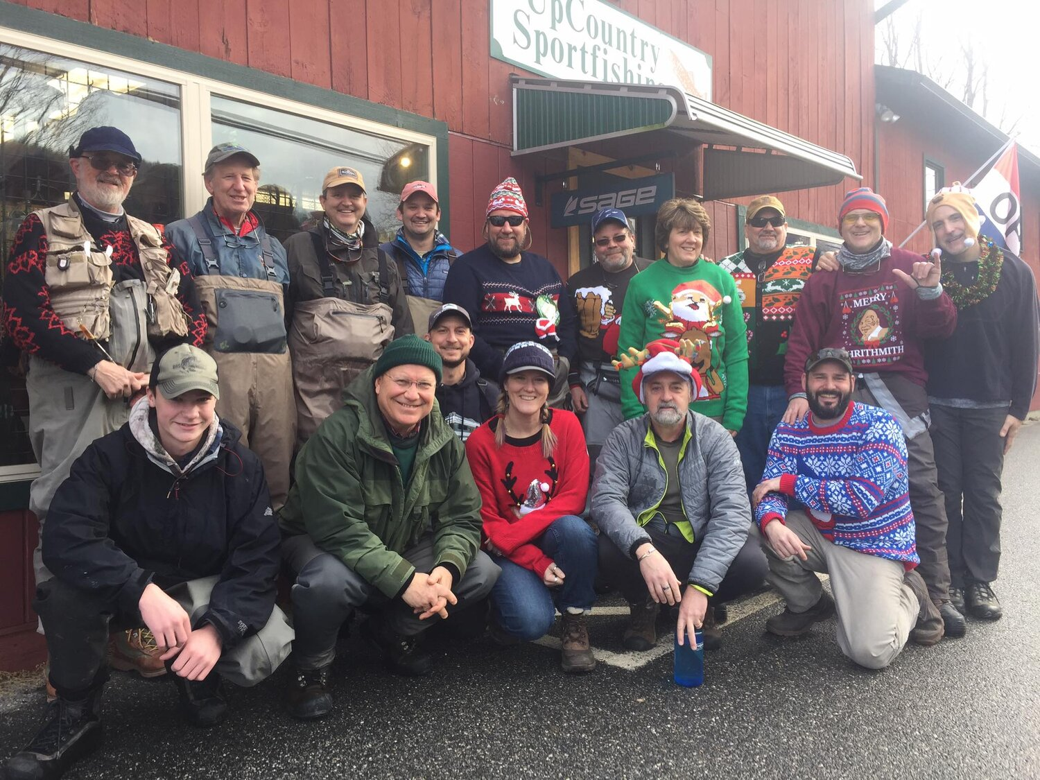 2018 Ugly Sweater fishing event on the Farmington