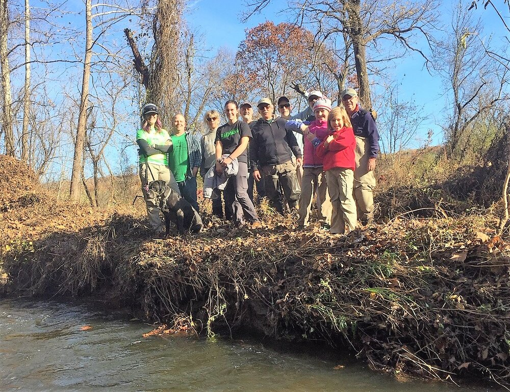 This team of volunteers cleared brush and trash from the Pratt Nature Center