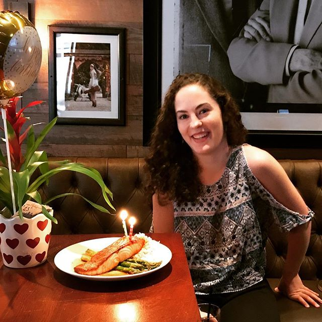 Our favorite host Sarah enjoying birthday lunch of our delicious miso salmon! Favorite thing on the menu!