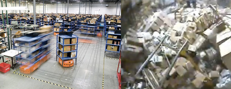 Clean robotically assisted warehouse compared to one in disarray.