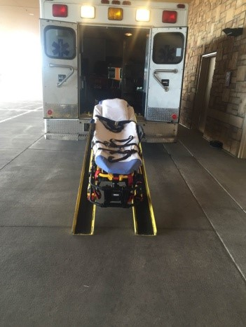 Bariatric Ambulance - Ambulance outfitted with ramps, winch, cables, and stretcher capable of holding 700 lbs.