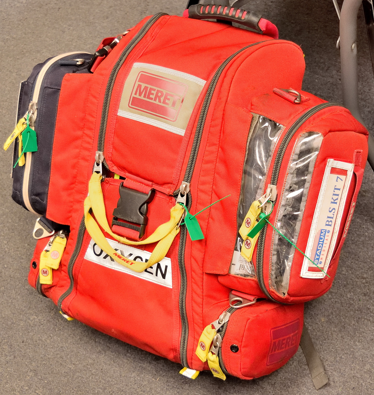 STAT Packs - Packs with AED, oxygen and other materials.