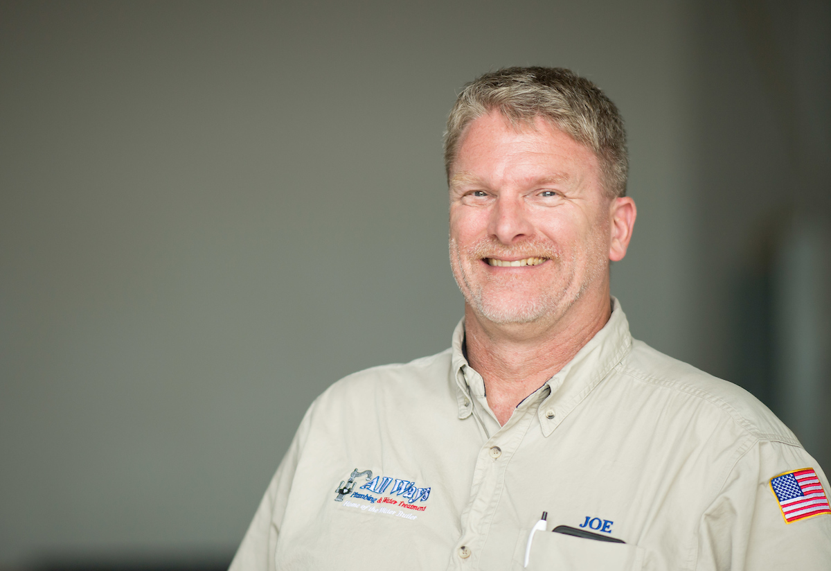 Meet Joe Berg - Our Master Plumber in Chief, Joe, created the company to serve others with his plumbing and water treatment skills, no matter what. He strives to find the best plumbers for his business and for your home and family.