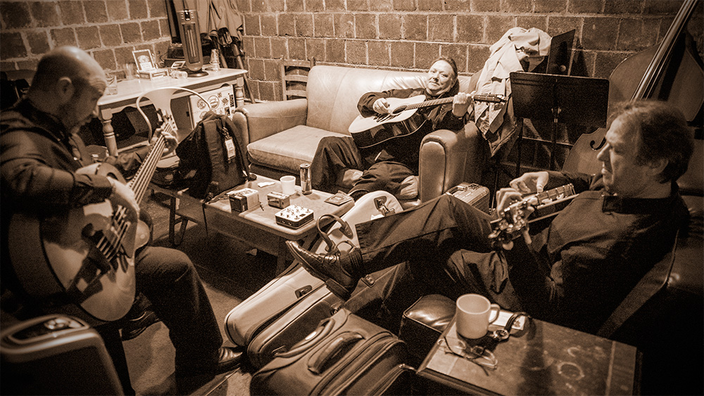 Jens, Uwe, and Joel warming-up backstage at ISIS, Asheville, North Carolina, December 2014.