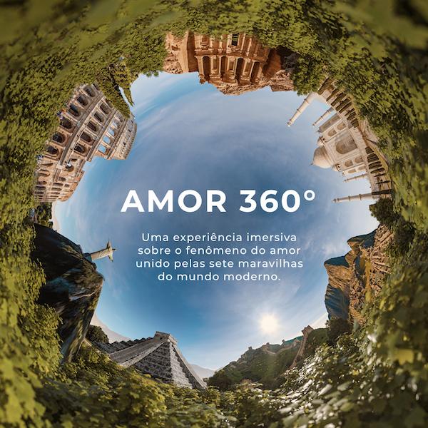 Essa foto mostra as sete maravilhas do mundo moderno em uma composição 360°.