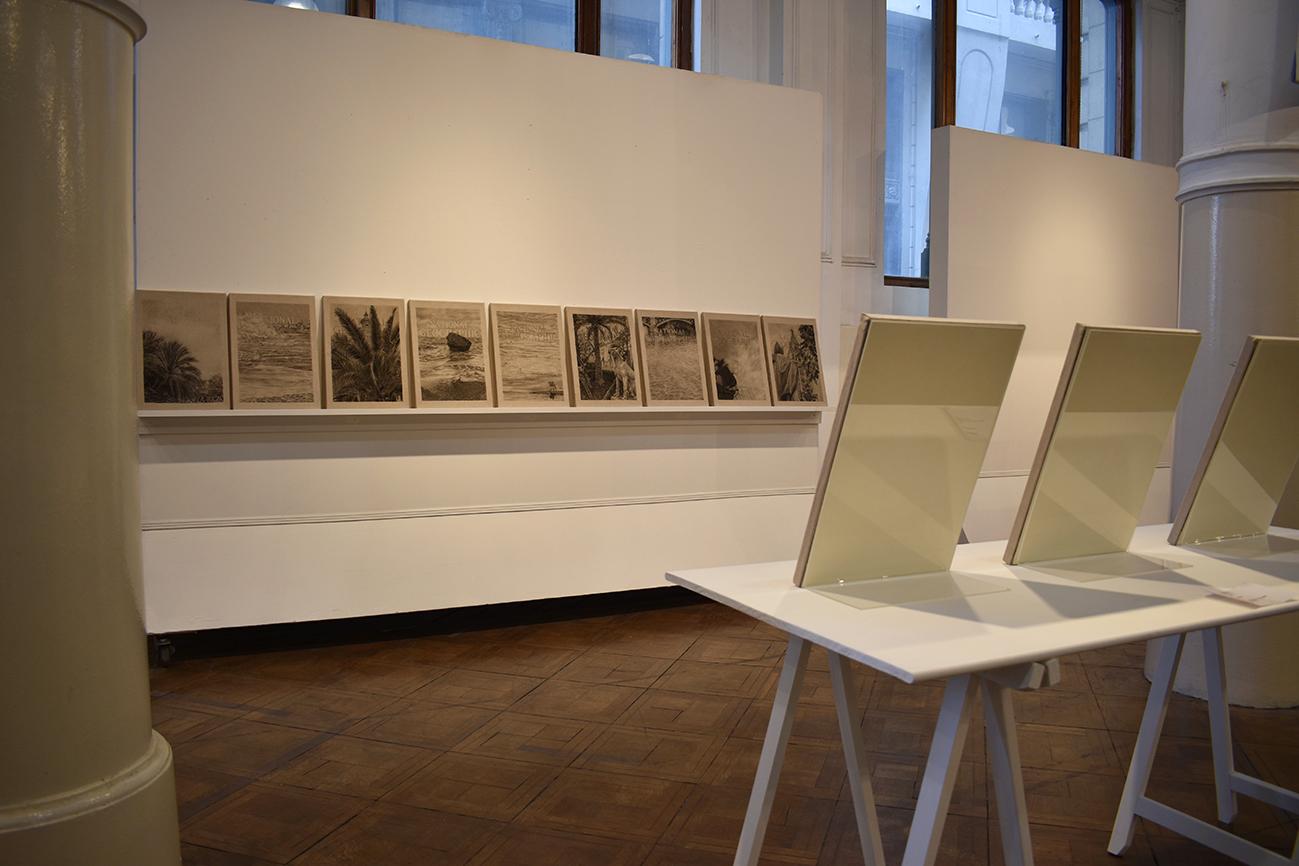 La tempestad   Instalación de dibujos en carbón vegetal y pasteles sobre lino.  15 cuadros de 0.50 m x 0.35 m.  Instalación de medidas variables