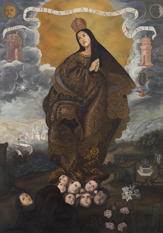 """""""Virgen Inmaculada. Apres, anónimo de Escuela limeña"""" por Claudia Coca. Obra de la exposición  Peruvian Beauty: Centro de Estéticas  de Torres y Coca, 2004."""