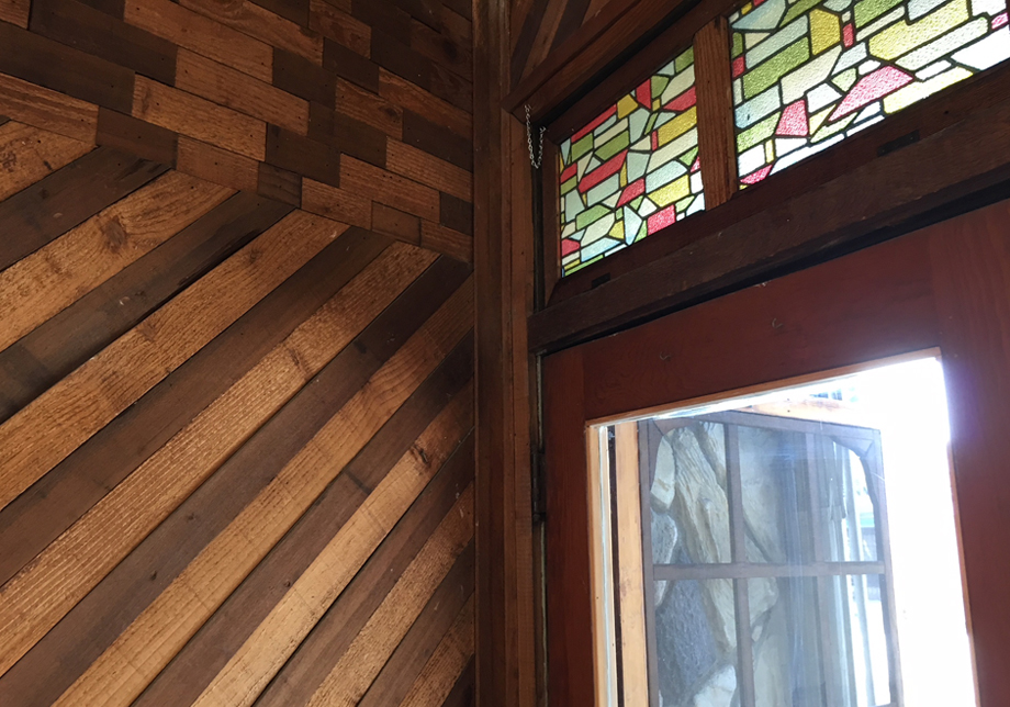 stained glass + wood