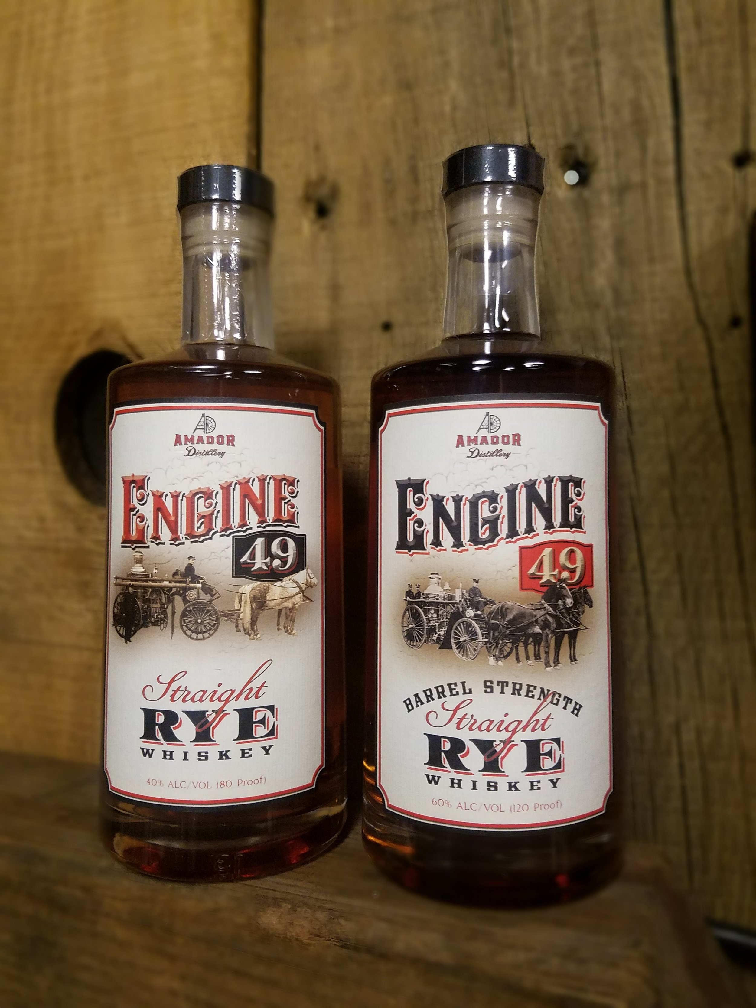 Engine 49 Straight Rye Whiskey - Amador Distillery makes a unique rye whiskey that is nothing but 100% rye on the mash bill. Most other brands have other grains mixed in with their rye mash bill, but that is not our style.Engine 49 80 proof Rye Whiskey is a very easy rye that appeals to whiskey lover and novice spirit drinkers alike. Many visitors to the tasting room start with a